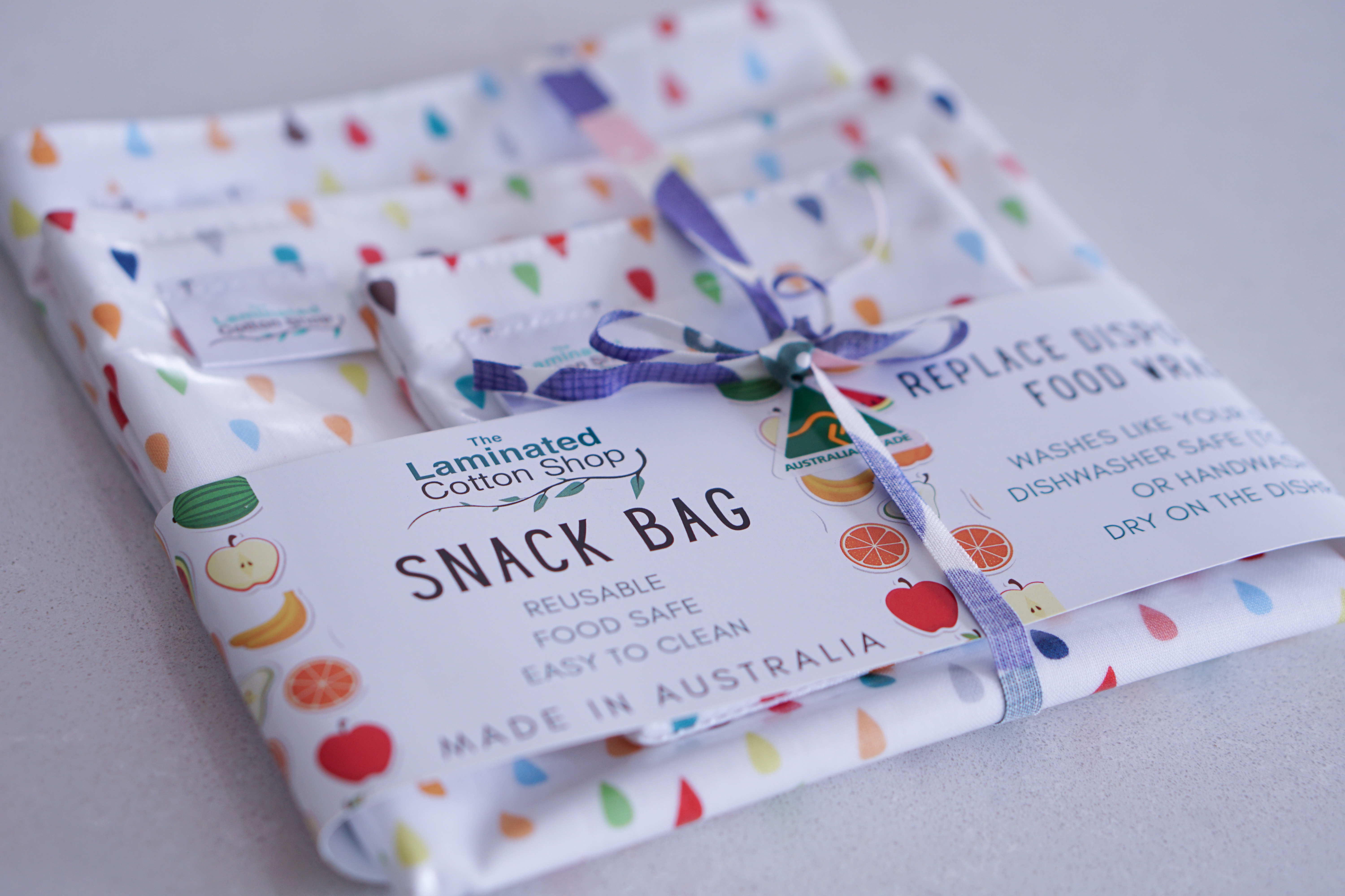 Image of The Laminated Cotton Shop Snack Bag Set tied together with product label